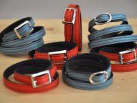Les bracelets 2 et 3 tours sont fabriqués en taurillon ou veau avec boucles carrées ou ovales. Création originale LE NOËN. Sellier Maroquinier Français.