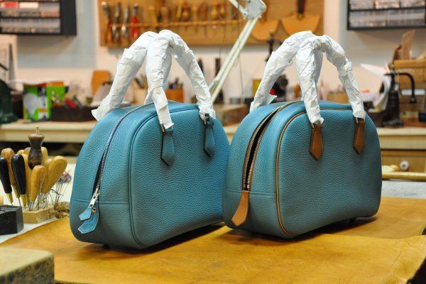 Sac Betty Les sacs sont retournées, il faut encore pincer les différentes parties pour qu'il prenne sa forme définitive.