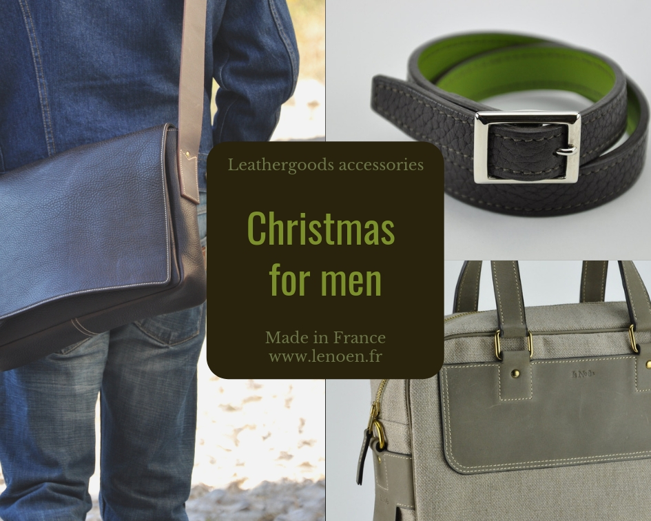 Christmas gift for man, leather bag, luggage, bracelet. Made in France