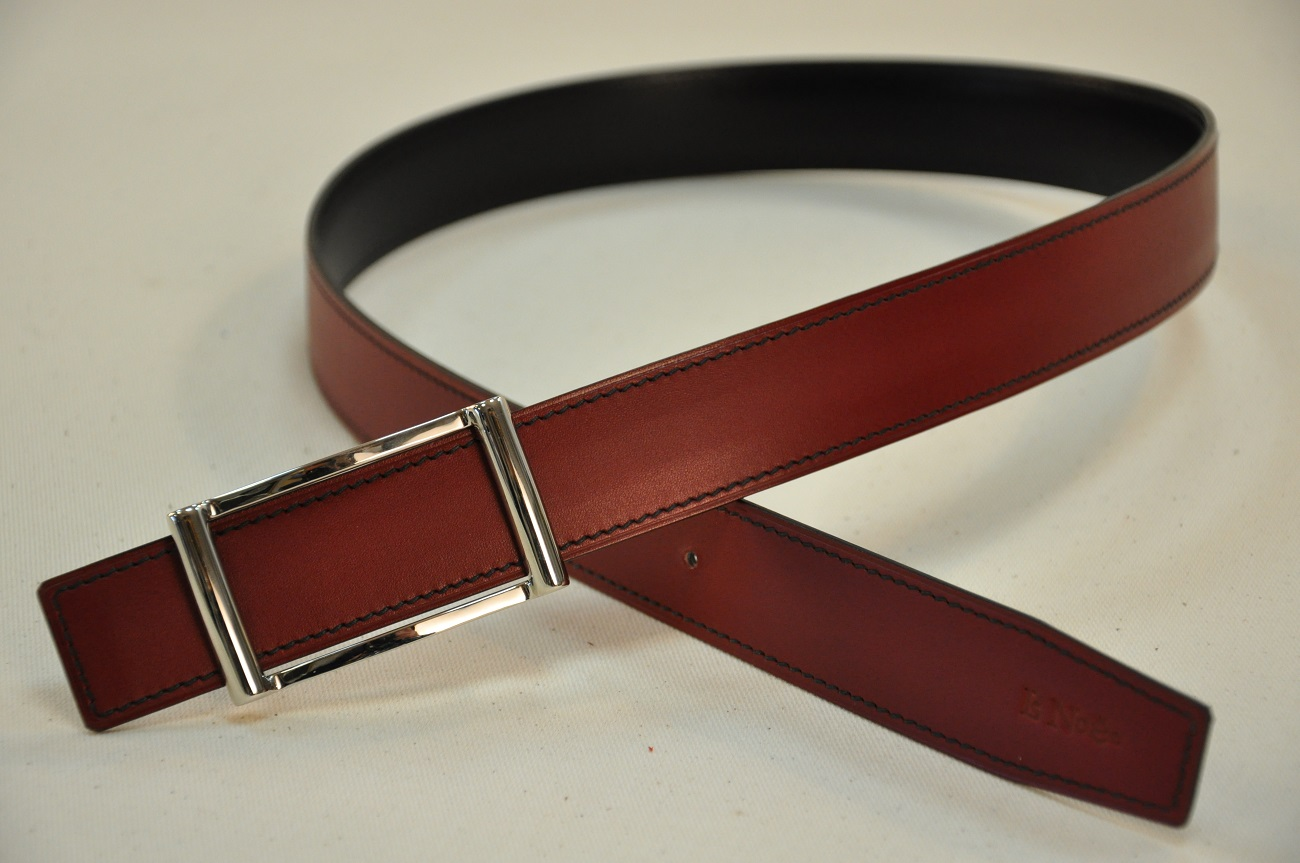 Calfskin reversible belt made in calfskin in our workshop in Provence. France