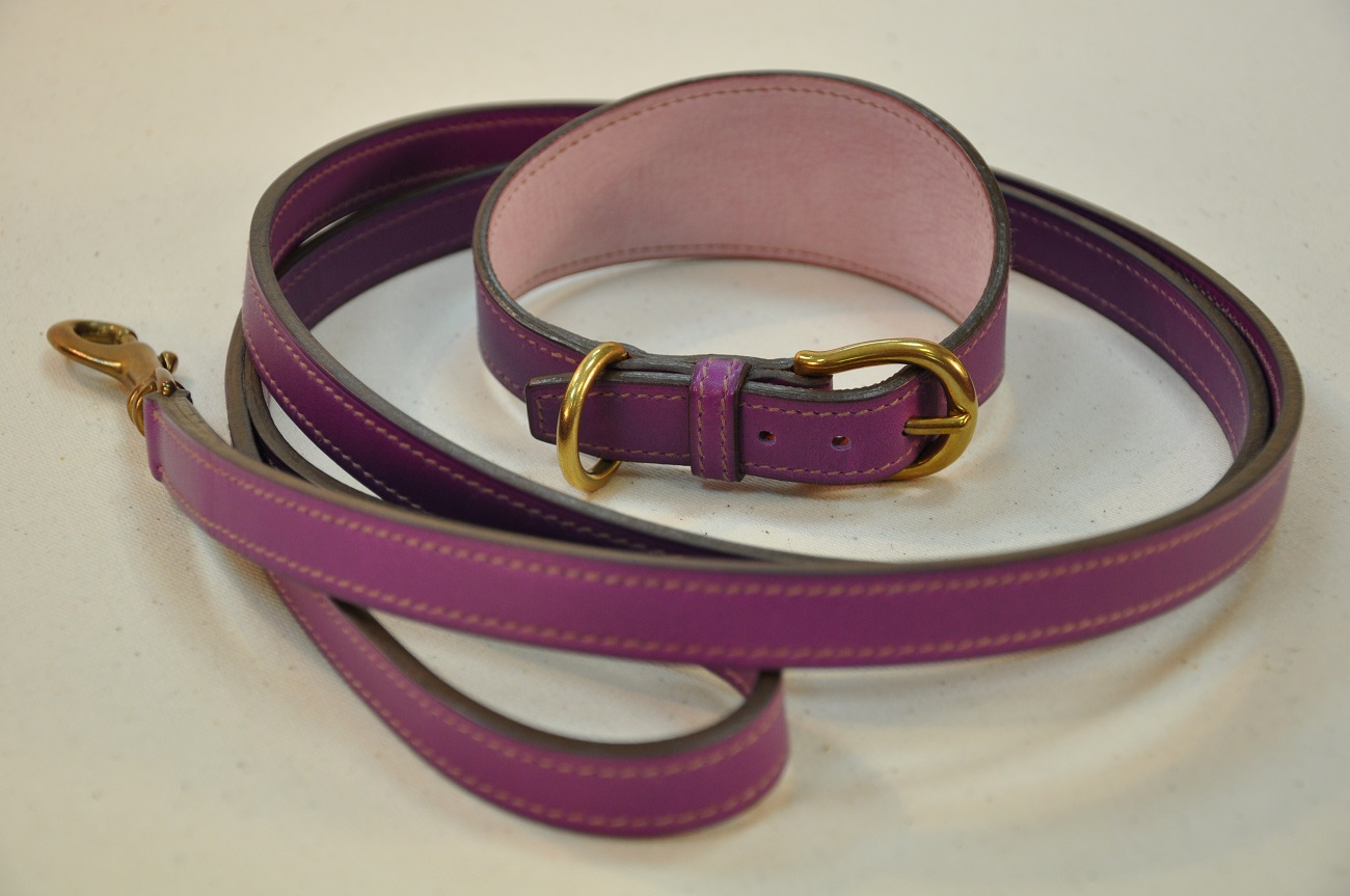 Collar and lass for whippet dog, tailor-made in calfskin with solid brass buckle. Special order by LE NOËN France