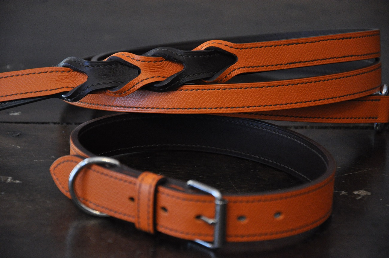 Dog collar and special lass Tailor-made, in orange and brown grained calfskin. LE NOËN leather goods maker in France.