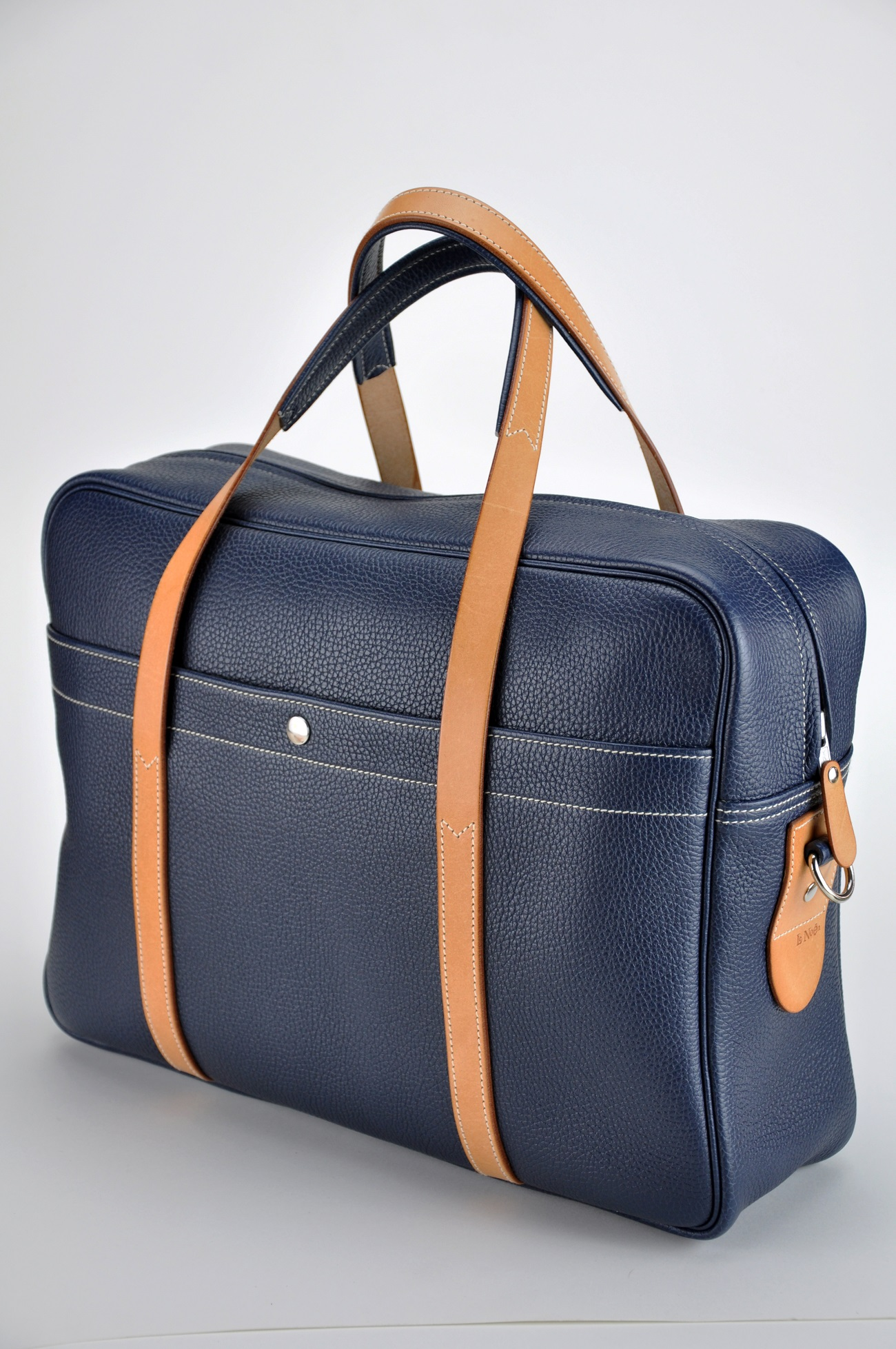 Man bag, luggage London Gentleman made by luxury leather goods LE NOËN made in France.