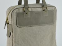 Man's bag in vintage cowhide and linen. Made in France by luxury leathergoods craftsman.