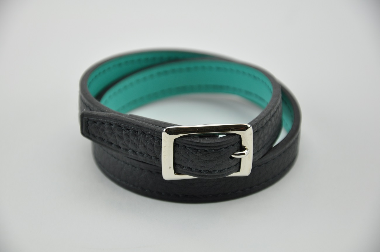 Bracelet 2 loops in taurillon leather and turquoise calfskin. For woman or man. Made in France