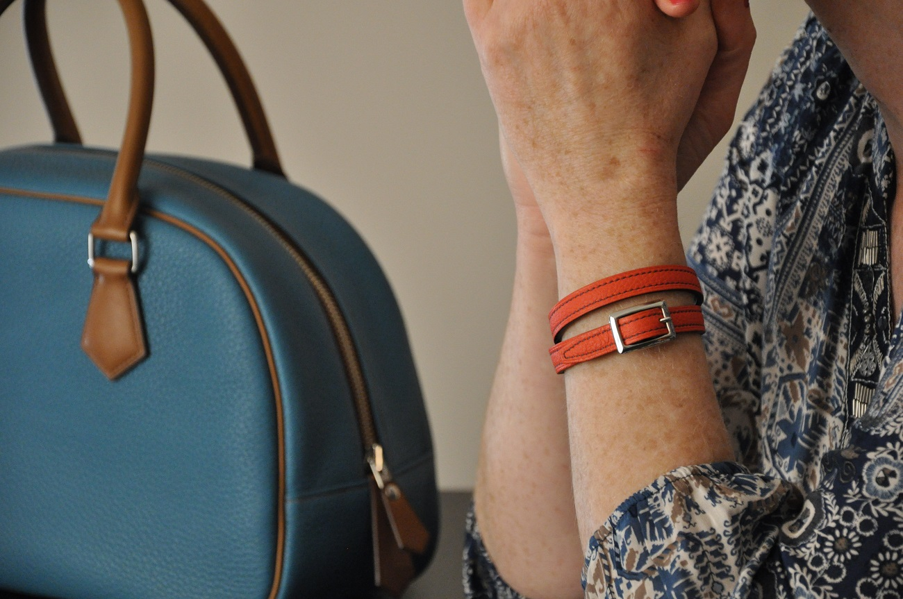 Bracelet in leather double or triple tour. fashion accessories made in taurillon leather by LE NOËN in France