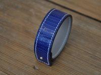 Bracelet in royal blue lizard, made by a famous leather goods craftsmen LE NOËN in France