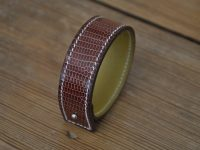 Bracelet in brown lizard for woman or man. The luxury fashion accessories by LE NOËN in France.