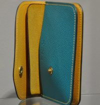 Woman or man change purse in calfskin. Leather goods in Provence. France